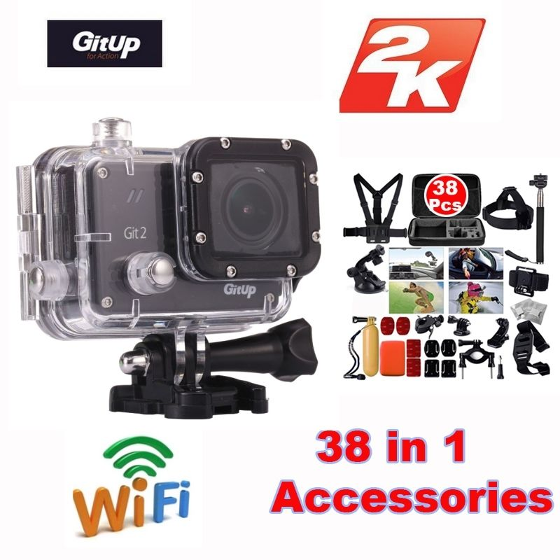 Gitup Git2 Novatek 96660 1080P Full HD 2K 30fps WiFi Sports Camera 1.5 inch LCD Screen Action Cam +38Pcs Accessories Kit
