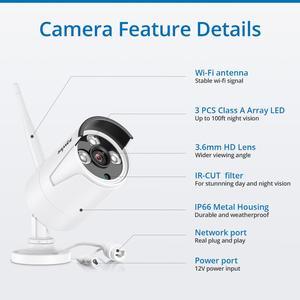 Image 4 - Камера Наружного видеонаблюдения SANNCE, беспроводная камера безопасности, 8 каналов, 1080 пикселей, 2 Мп, NVR, IP, для использования в помещении и на улице, IP, комплект видеонаблюдения