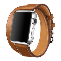 Luxury Fashion Punk Double Belt Loop Band For Apple Watch 38mm 42mm Genuine Leather Strap For