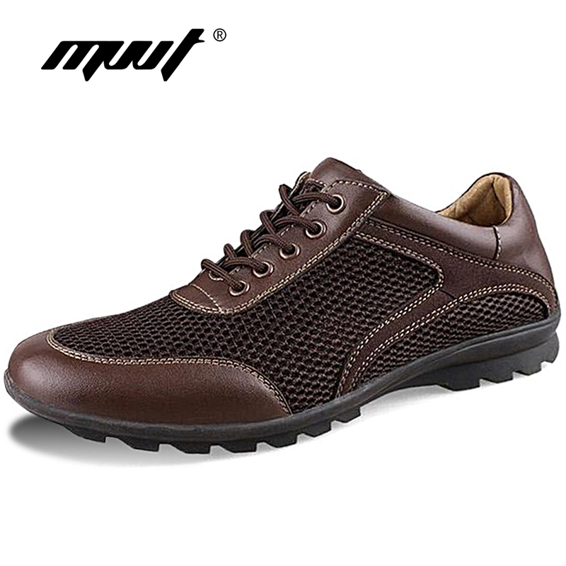 MVVT Summer Men Casual Shoes Breathable Mesh + Leather Men Shoes Lace-up Men Flats Foot Wear For Driving