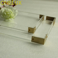 (2PCS/LOT) Clear Lucite Jewelry Cosmetics Storage Trays With Metal Handles/Acrylic Home Use Decorative Organizer Trays
