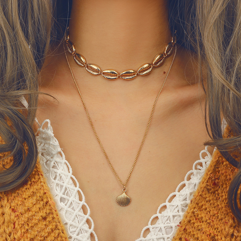 Vintage Natural Shell for Women Gold Silver Color Jewelry Rope Chain Bead Statement