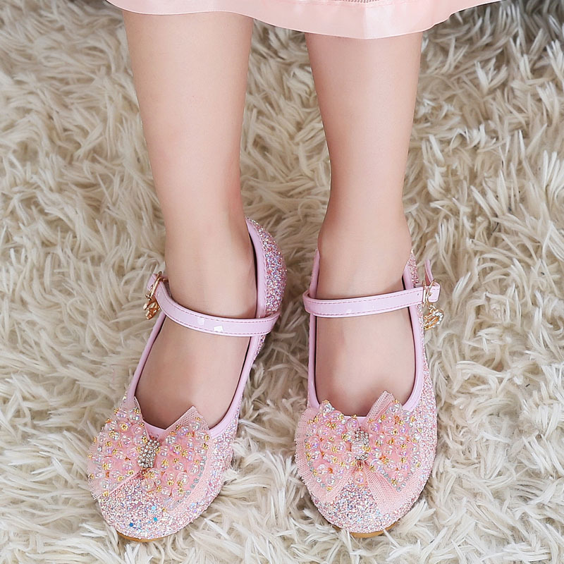 Childrens Shoes For Girls Leather Princess Shoes With Bow Kids Party High-heeled Shoes Child Fashion Performance Shoes