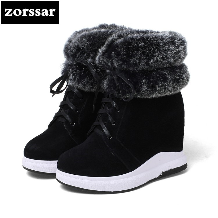 {Zorssar} 2019 New Women Booties Wedge Winter Warm Plush Snow boots cow suede Leather Women ankle Boots High heels Botas Mujer zorssar 2019 women s shoes winter plush women snow boots cow suede leather flat ankle boots female warm fur insole botas mujer