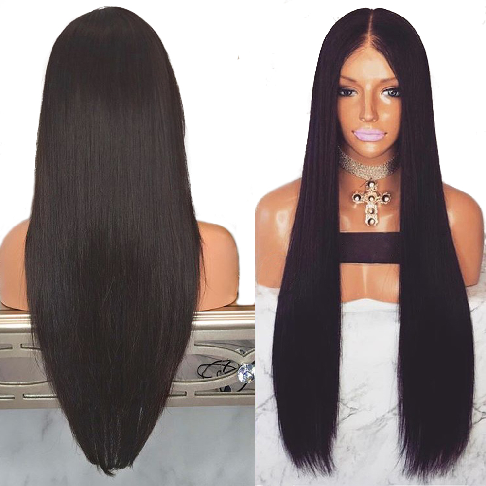 Eversilky Silk Base Top Full Lace Human Hair Wigs With Baby Hair Pre Plucked Straight Brazilian Remy Hair Black Wigs for Women(China)