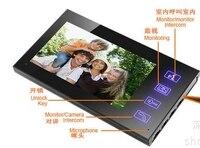 7 Inch Touch color video intercom doorbell with four rain night vision surveillance Kit Video Intercom Door Intercom