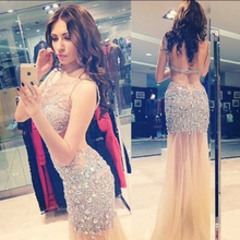 Luxury Prom Dress Sequin Sheer Backless Sexy Bling Evening 2016 New Dresses WJT