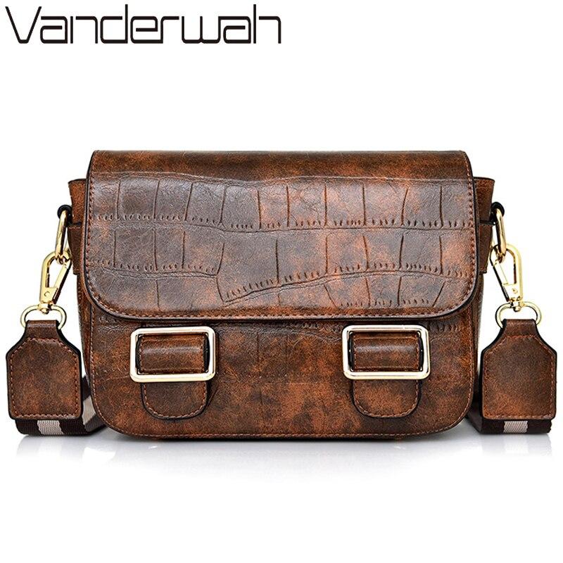 VANDERWAH Vintage Stone Pattern Leather Luxury Handbags Women Bags Designer Belts Lock Women Shoulder Crossbody Bags For Women