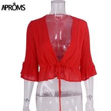 Deep V Neck Half Sleeve Cropped blouse