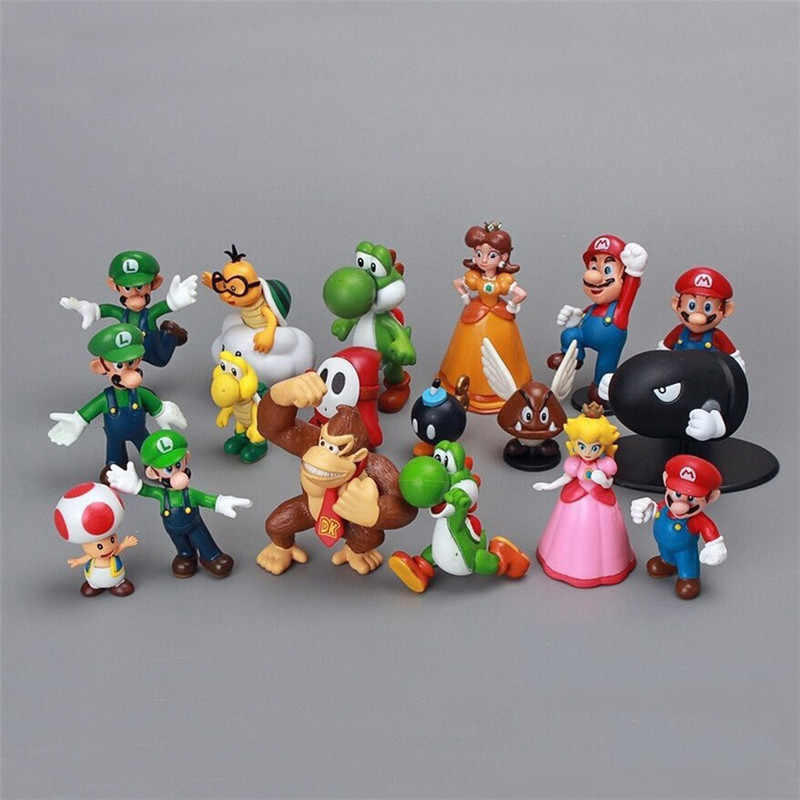 18 Stks/set Super Mario Bros Action Figures Pvc Speelgoed Model Yoshi Perzik Prinses Luigi Shy Guy Odyssey Donkey Kong Cijfers dropship