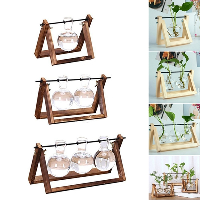 Desktop Glass Planter Vase with Retro Solid Wooden Stand and Metal Swivel Holder for Hydroponics Plants Home Wedding Decoration 2