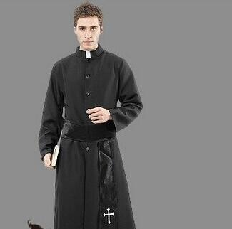 free shipping adult pastor priest monk robe costume suit godfather missionary priest serving. Black Bedroom Furniture Sets. Home Design Ideas