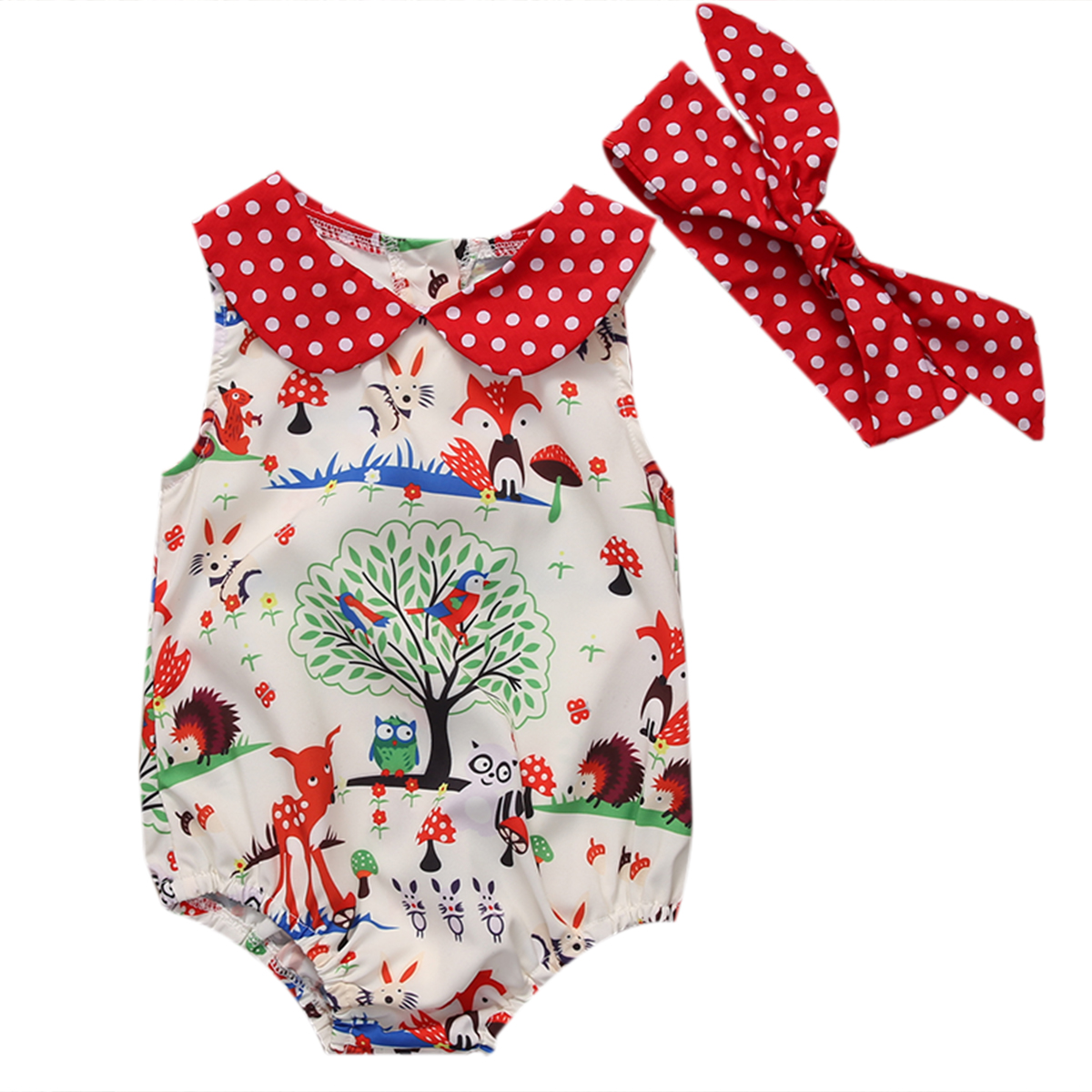 2 Pc Summer Baby Girl Dot Cartoon Print Romper + Opaska Peter Pan Collar Kombinezon Odzież Stroje Sunsuit