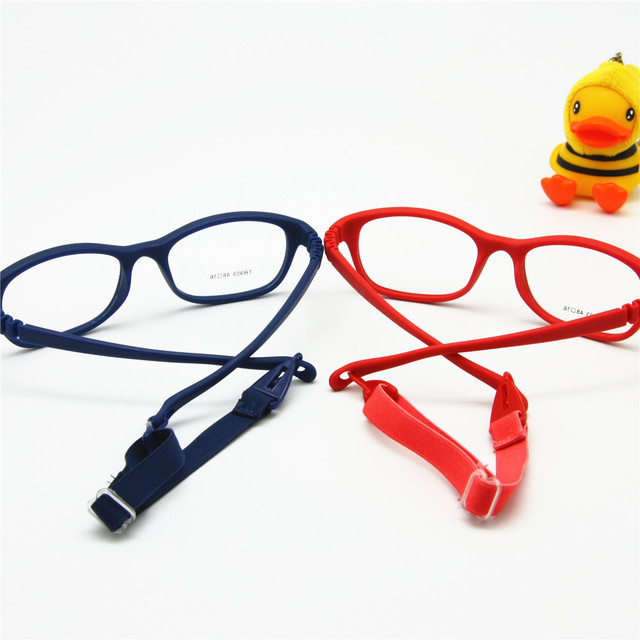 Children Optical Glasses Frame with Strap Size 48, One-piece Kids Glasses with Cord, No Screw Flexible Girls Boys Glasses