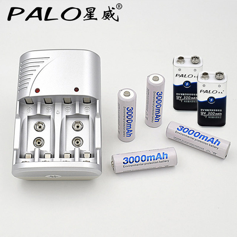 4 Slots LED ChargerFor AA  AAA 9V Batteries + 2 Pcs 9v 300mah Batteries + 4Pcs 3000mah AA Batteries