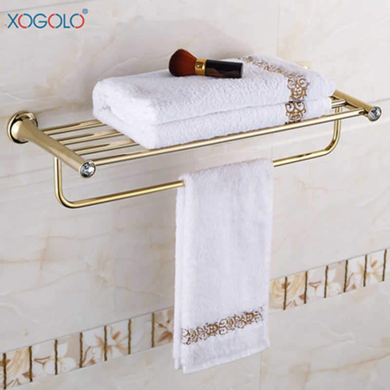 Xogolo Stainless Steel Towel Rack Accessories Fashion Gold Bath Towel Hanger New Arrival Crystal Mosaic Towel Holder xogolo copper gold plated wall mounted bathroom towel shelf romantic jade mosaic fixed bath towel rack holder accessories