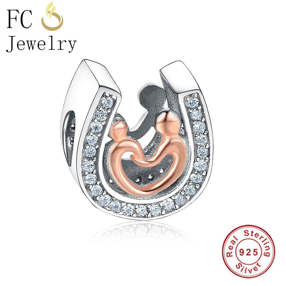 FC Jewelry Fit Original Pandora Charm Bracelet 925 Silver Horseshoe Mom and Kid Hand in Hand Beads Mix CZ For Women Berloque DIY