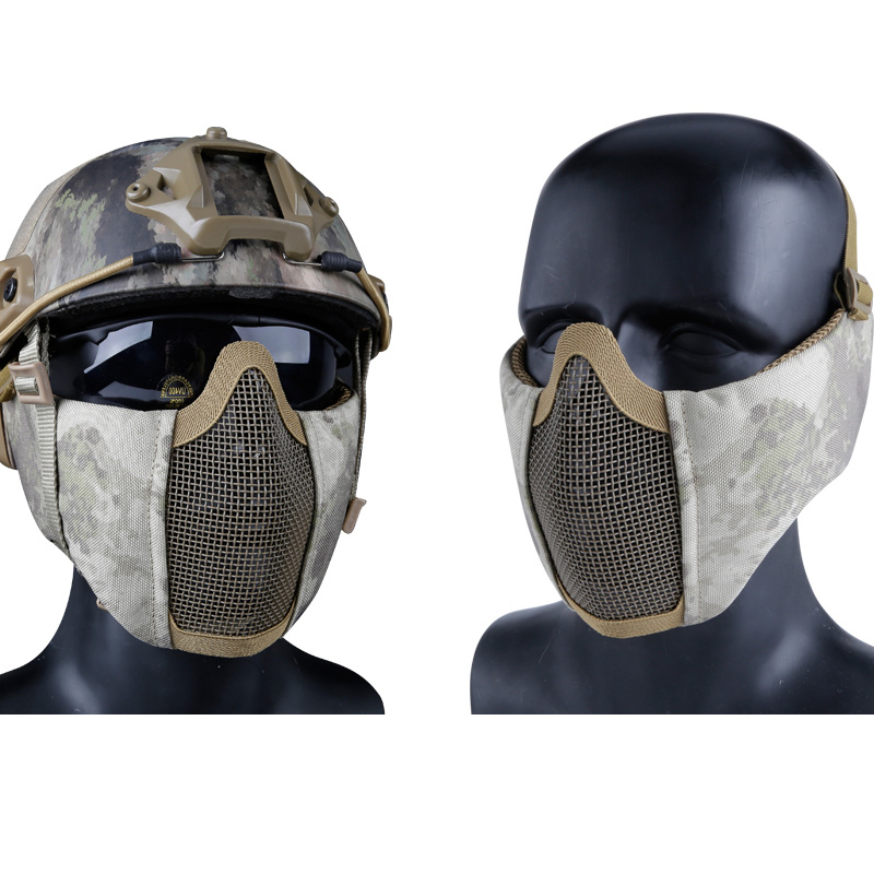 Tactical Mask Paintball Half Face Protective Mask With Ear Protection Battlefield Elite Mesh Masks For Military Hunting Airsoft