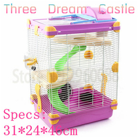 Promotional Free shipping multicolor hamster cage Heightening Dream Castle Travel carry Three layer squirrel cage Supplies & Pet
