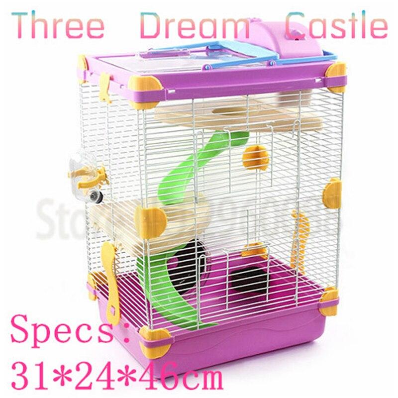 Promotionnel Livraison gratuite multicolore hamster cage Surélévation Rêve Château Voyage carry Trois couche écureuil cage Fournitures & Pet