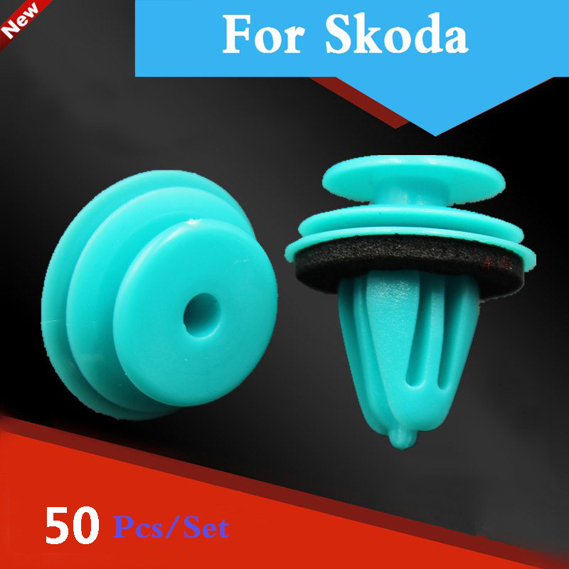 New 50pcs Shockproof Solid Car Door Trim Panel Rivets Fastener For Skoda Octavia Rs Rapid Fabia Rs Superb Yeti Octavia Citigo kawoo for skoda octavia fabia yeti rapid roomster citigo rubber rear guard bumper protect trim cover sill mat pad car styling