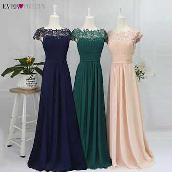 Long Evening Dresses Ever Pretty 2020 New Simple Dark Green Chiffon Plus Size O-Neck Appliques Lace A-Line Formal Party Dress