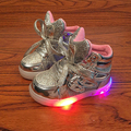 Led Kids light up shoes toddler gold pink silver sneakers girl shoes children lighting shoes Luminous Flasher glowing sneakers
