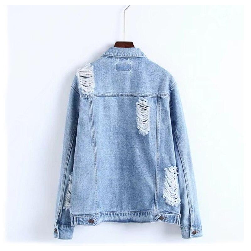 Denim D'été Veste Coton Blue Longues Manches Lâche Trou Jeans Femmes Mince Mode Section Manteau À Bleu De Tw1qntx5