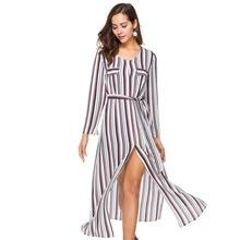 Шифоновое длинное платье женщины 2018 Весна Длинные рукава Рубашка в полоску блузка платье халат винтажный сексуальный разрез офисные платья