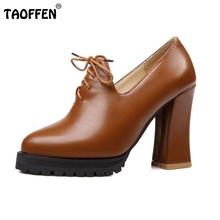 Size32-45 New Spring And Autumn Thick High Heeled Pumps Round Toe Lacing Female Platform Shoes Casual Shoes Square Heeled