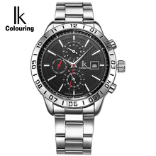 IK Colouring Automatic SelfWind Men Watch Nail Scale Multifunction Subdials Hours Small Dial Week Date Month Display Back Cover