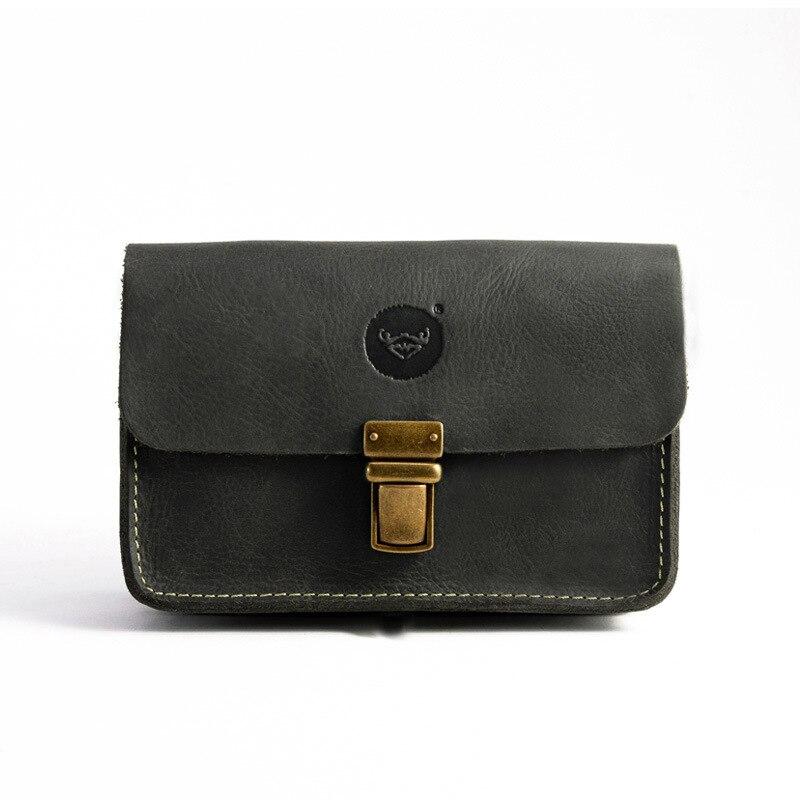 Sac à main Vintage en cuir de cheval fou nouveau Apple 6 PLUS sac de téléphone portable poches pour hommes sac de taille #1195 3-in Taille Packs from Baggages et sacs    1