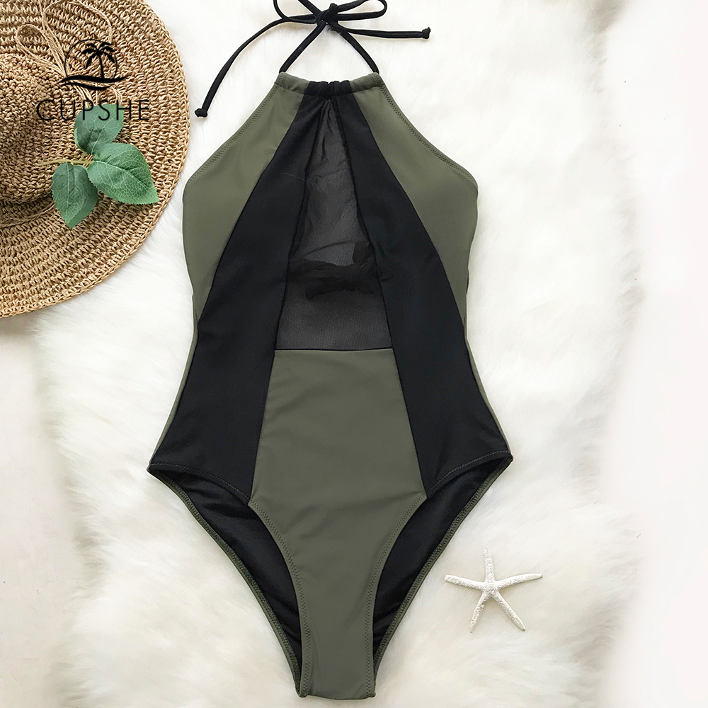 CUPSHE Army Green And Black Mesh Halter One-piece Swimsuit Women Patchwork Backless Monokini 2019 Girl Bathing Suit Swimwear Платье