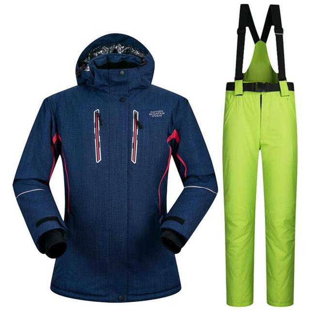 365600ccdd37 Зимние Горные лыжи костюм для женщин водонепроницаемый дышащий сноуборд  Штаны женский зимний лыжный костюм, куртка