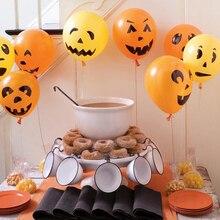 цена 15pcs Halloween Party Balloon Decoration Supplies Orange Black Printed Ghost Latex Balloons for Birthday Kids Party Decor
