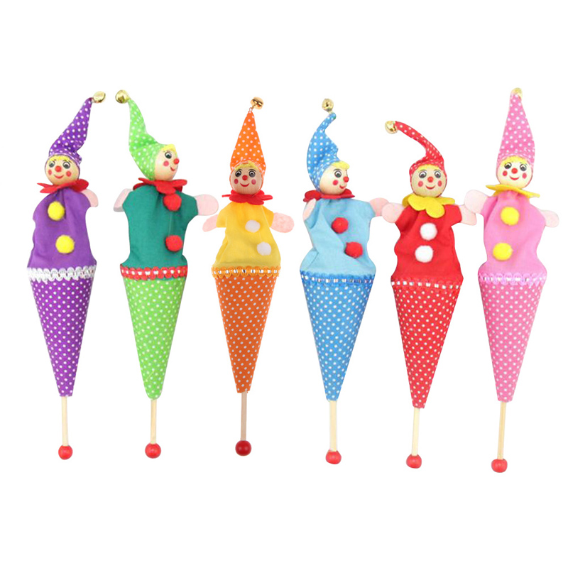 1PC Baby Rattle Toys Retractable Smiling Clown Hide Seek Play Jingle Bell Wooden Educational Toys Newborns Doll Random Color