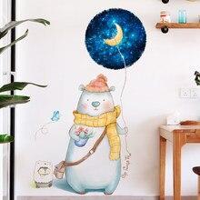 Adahl Cute Bear Door Home Decor Wall Stickers DIY Cartoon