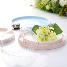 Керамический круглый десертный лоток попробуйте есть синий розовый белый лоток для торта для конфет и чая для отеля свадебный торт магазин со стеклянной крышкой
