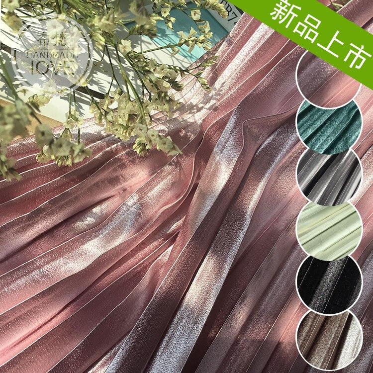 2018 High-end Solid Crystal Satin Pleated Fabric Metal Organ Skirt