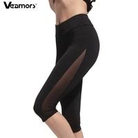 VEAMORS Sexy Maille Yoga Pantalon Femmes Respirant Sport Leggings Élastique Noir Fitness Course Collants Genou Longueur Gym Pantalons Athlétique