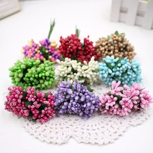 DIY Stamen For Wedding Home Decoration 12pcs Artificial Flower Pistil DIY Scrapbooking Garland Craft Fake Flowers(China)