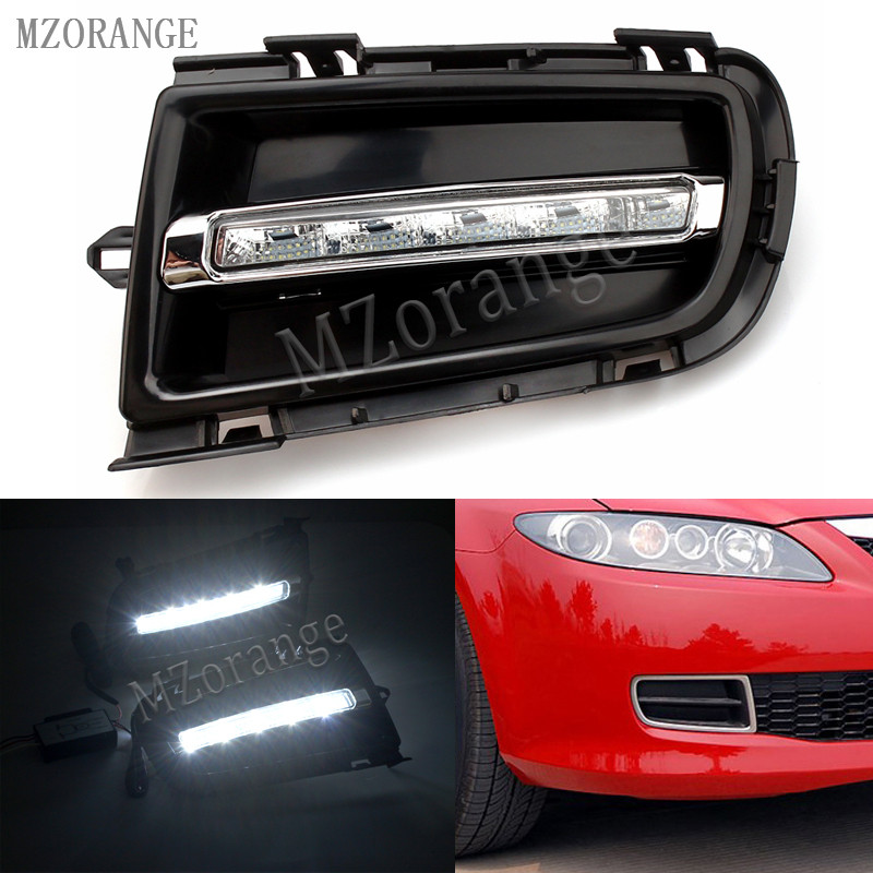 MZORANGE 2pcs/Set For Mazda 6 For Mazda6 2006 - 2009 LED White DRL Daytime Running Light Daylight Signal lamp car-Styling light car styling 2x car light 8led drl fog driving daylight daytime running led for bmw for audi white head lamp 2pcs per set