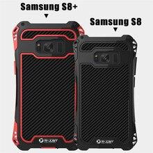 Para Samsung caso Samsung Galaxy S8 S8 além da Tampa Do Caso À Prova de Choque Armadura De Metal de Alumínio Caso De Fibra De Carbono Para Galaxy S8 silicone