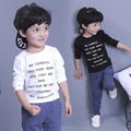 Fashion Boys Long Sleeve Cotton T-shirts Letter Printed Round Collar Boys Spring tshirt Clothing High Quality