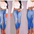 Mulheres sexy buraco pés estiramento Magro lápis cintura jeans skinny europeus e Americanos estilo de rua ocasional selvagem deni m calças S2627