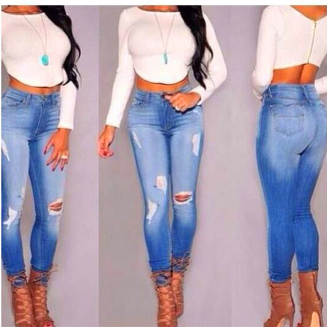 Women sexy feet hole stretch Slim waist pencil skinny jeans European and American street style casual wild deni m pants S2627