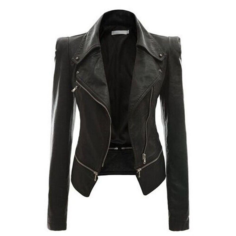 Gothic Soft   Leather   Women Autumn Jacket Black Moto Jacket Zippers Long Sleeve Female PU Faux black   leather   jacket plus size 4xl