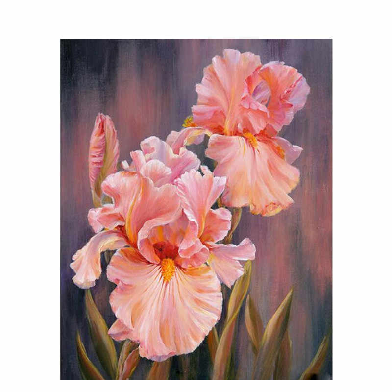 Wildflower Pink Flower DIY Painting By Numbers Wall Art Picture Acrylic Canvas Painting For Home Decoration Drop Shipping