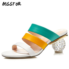 MSSTOR Peep Toe White Summer Shoes Plus Size 42 Genuine Leather Fashion Concise Slippers Women Strange Style Pumps Shoes Women