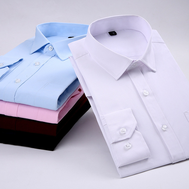 780d605e30 New Mens Dress Shirts Long Sleeve 2018 Summer Fashion Pure Color Male Business  Casual Shirt Men Camisa Masculina AE1007